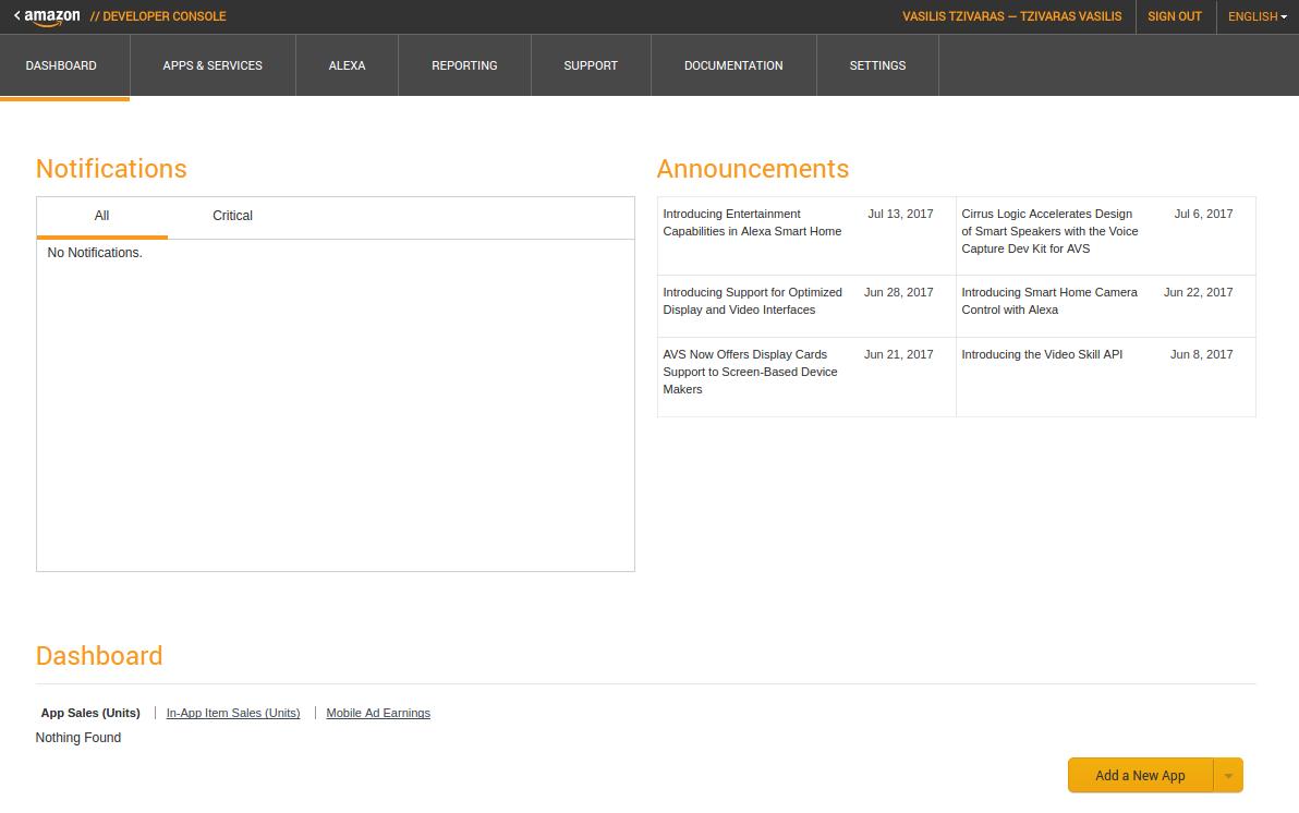 Creating an Amazon Developer account - Raspberry Pi Zero W