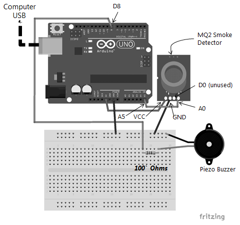 Smoke detector (analog I/O method) - Learn Arduino Prototyping in 10