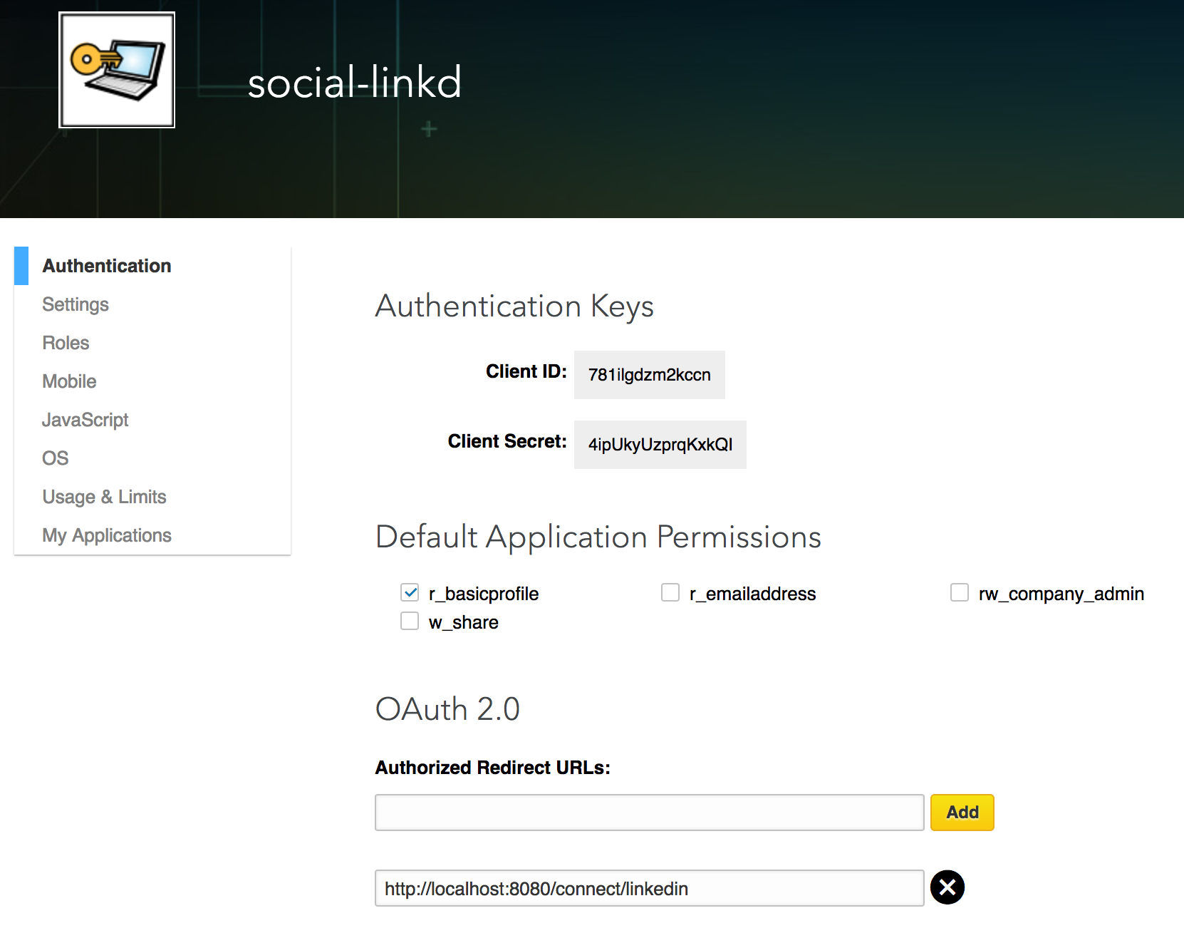 Accessing OAuth 2 0 LinkedIn protected resources - OAuth 2 0 Cookbook