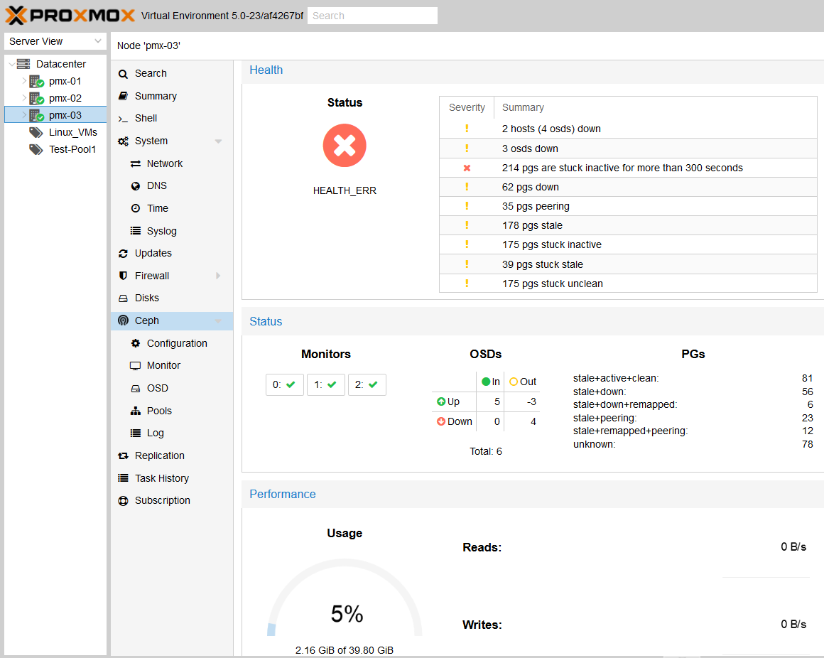 Monitoring the Ceph cluster with the Proxmox GUI - Mastering