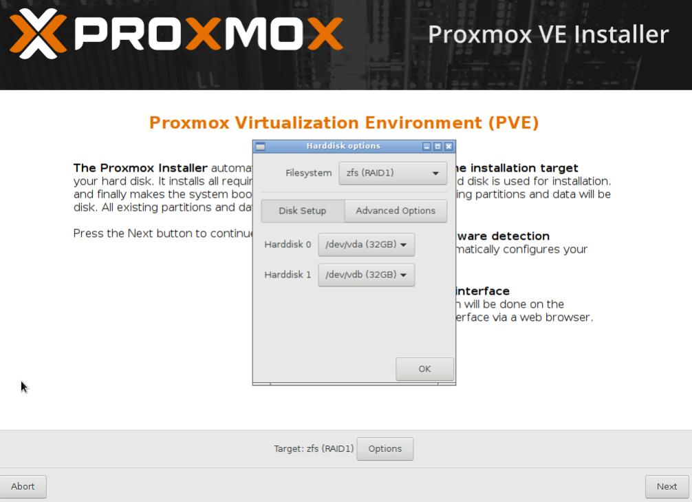 The advanced installation option - Mastering Proxmox - Third Edition