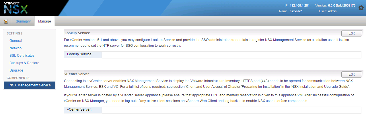Configuring NSX Manager - Learning VMware NSX - Second Edition
