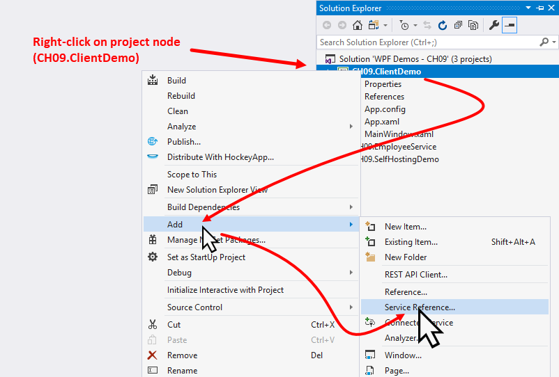 Integrating a WCF service in a WPF application - Windows
