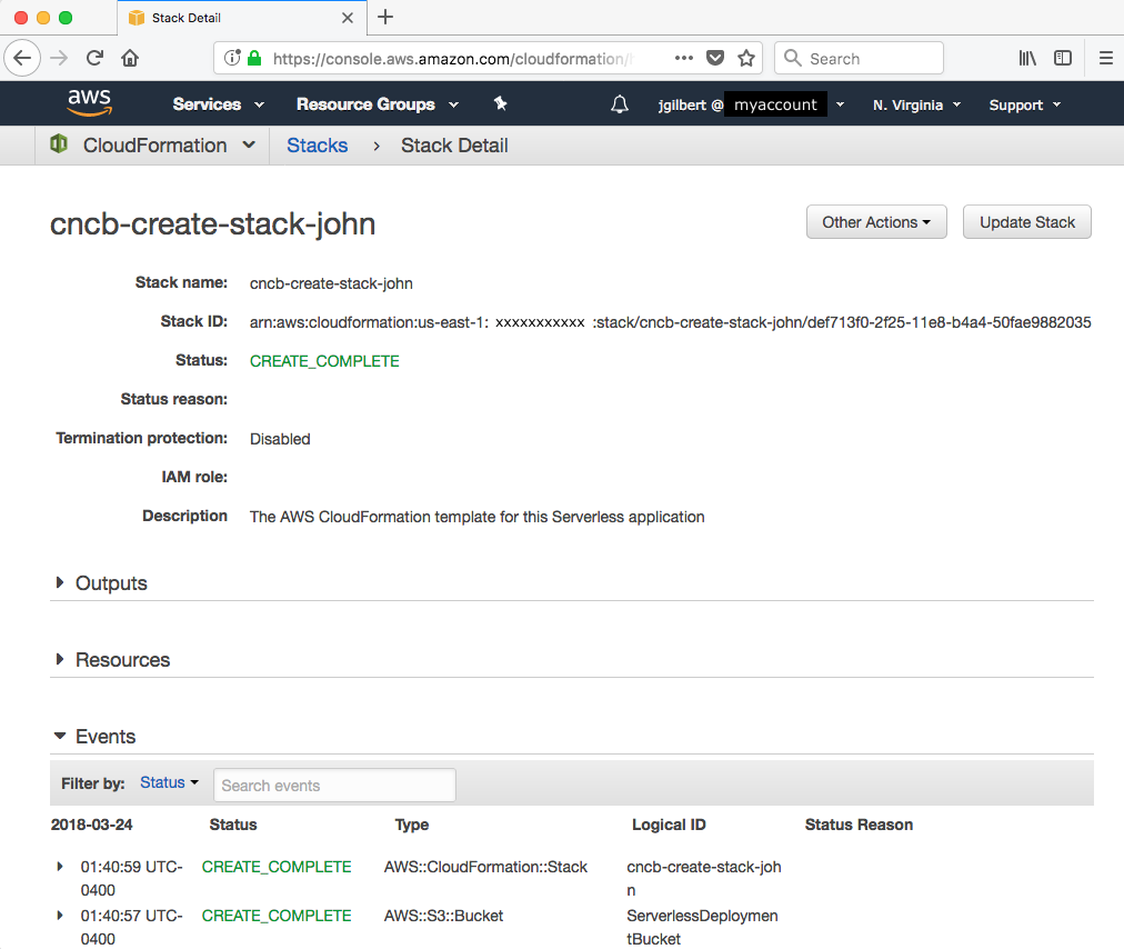 Creating a stack - JavaScript Cloud Native Development Cookbook
