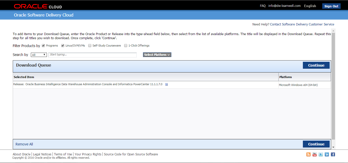 Downloading the latest version of Informatica PowerCenter
