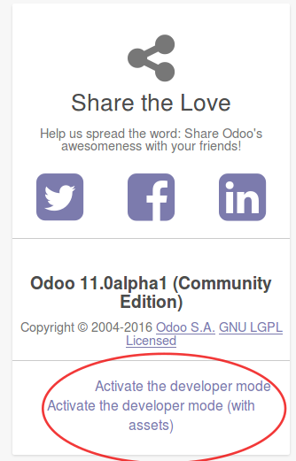 Activating the Odoo developer tools - Odoo 11 Development