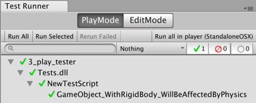 Creating and executing a unit test in Play mode - Unity 2018