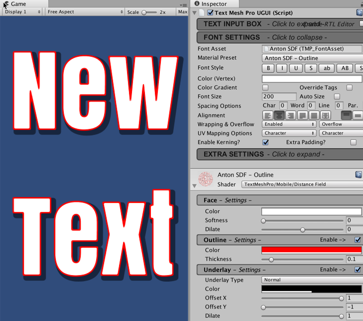 Creating sophisticated text with TextMeshPro - Unity 2018