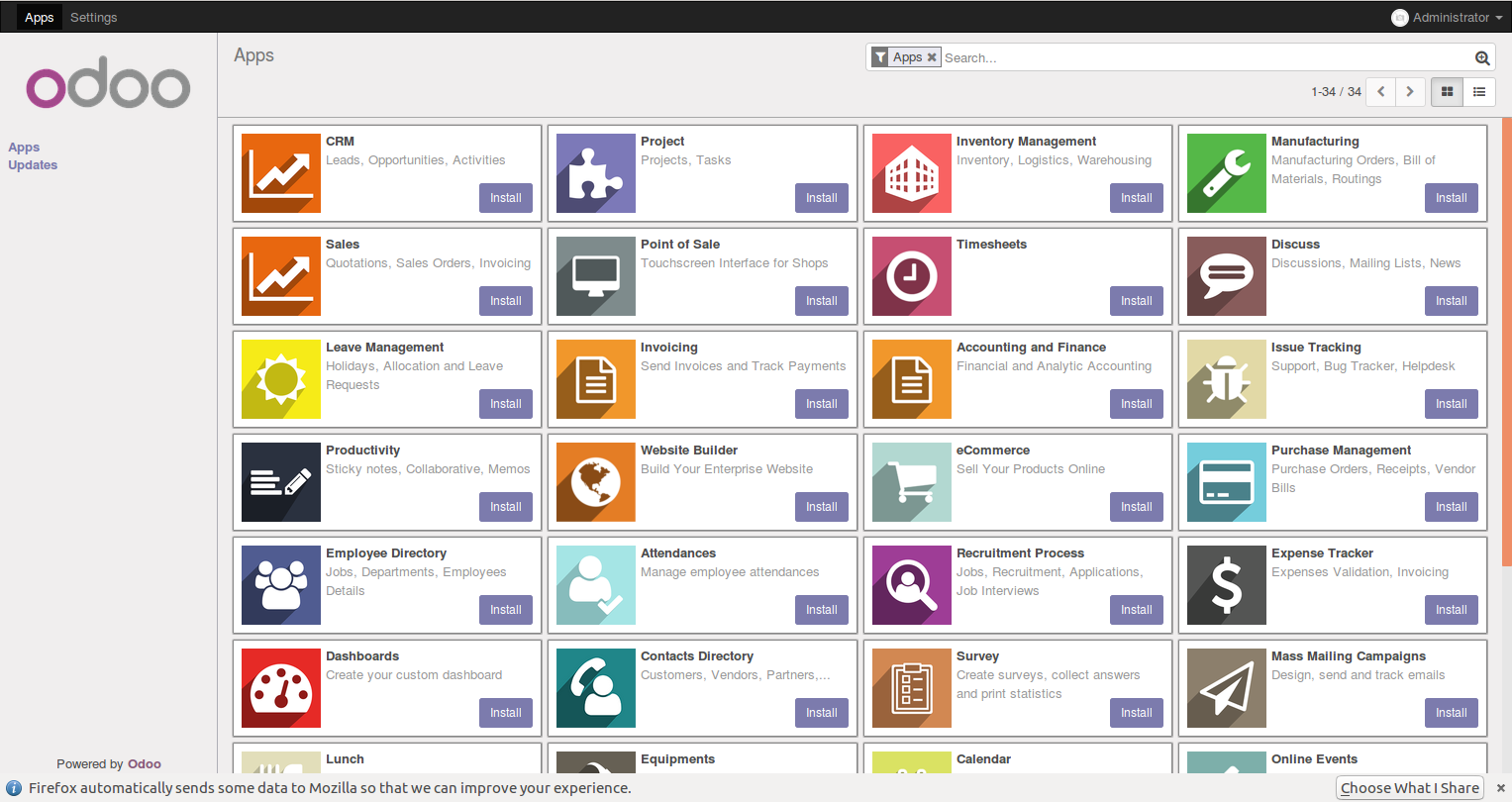 Installing the Sales Management module - Working with Odoo