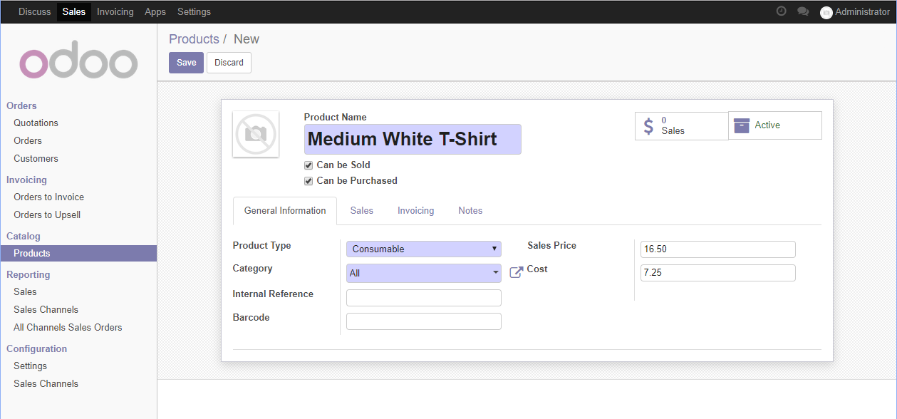 Entering a product in Odoo - Working with Odoo 11 - Third
