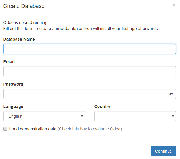 Creating a new database in Odoo - Working with Odoo 11