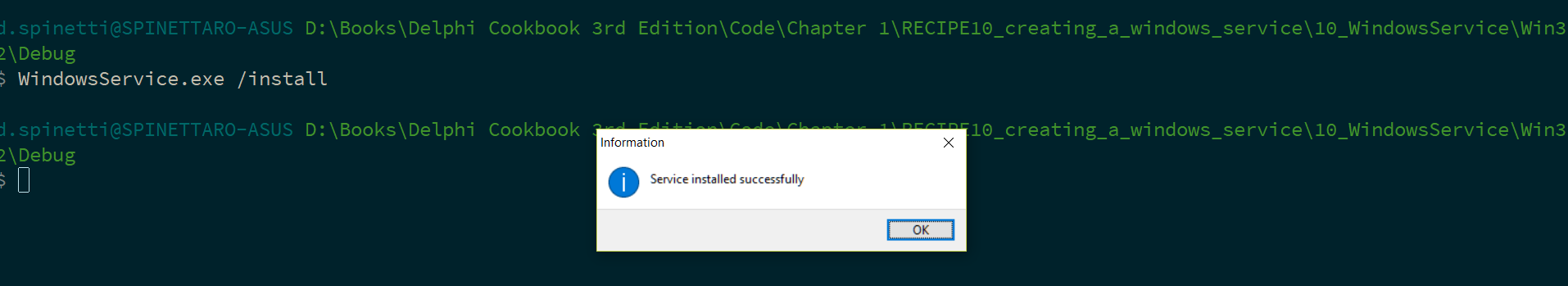 Creating a Windows Service - Delphi Cookbook - Third Edition