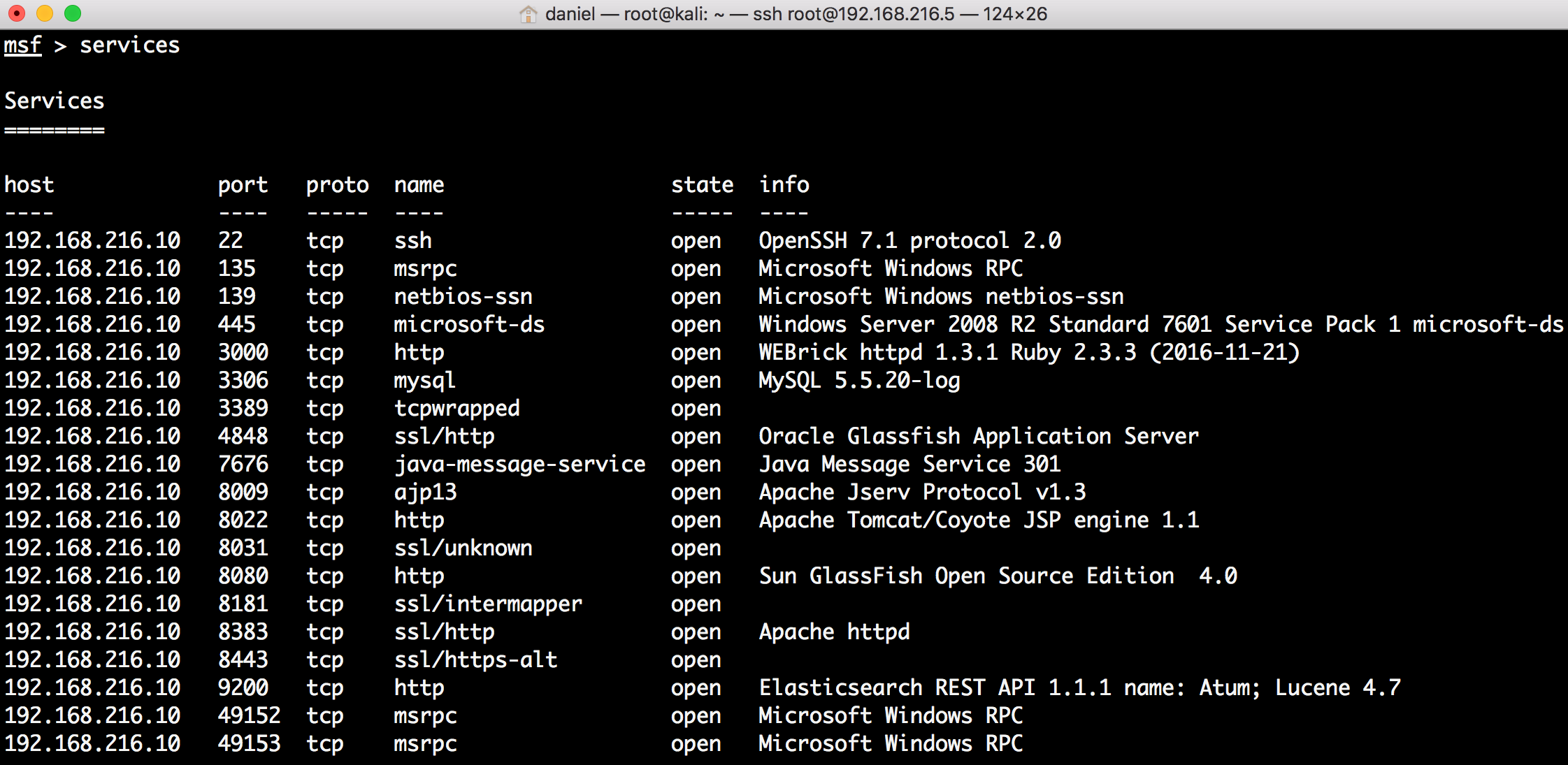 Understanding the services command - Metasploit Penetration