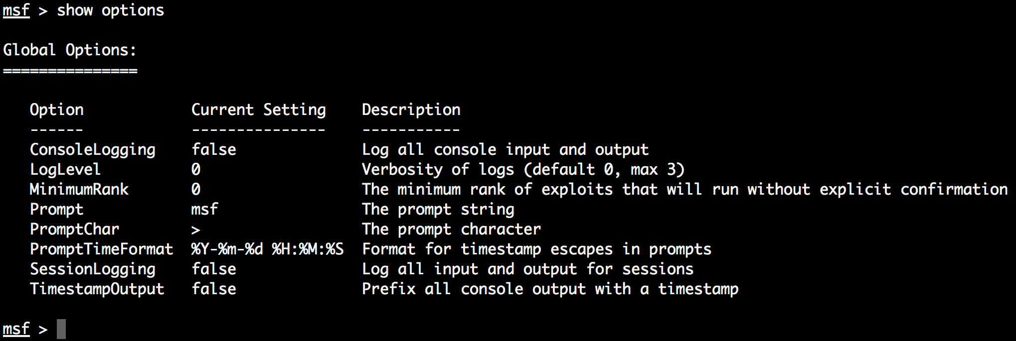 Metasploit logging - Metasploit Penetration Testing Cookbook - Third
