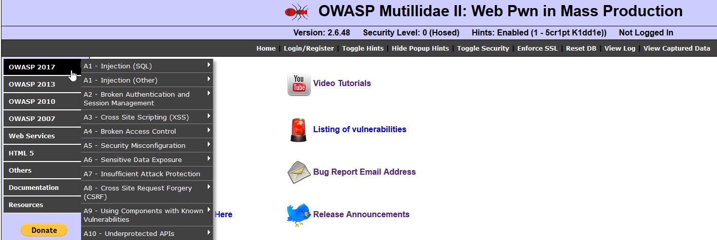 Using Mutillidae - Practical Web Penetration Testing