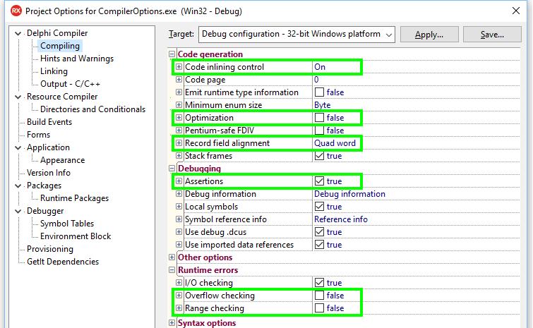 Delphi compiler settings - Delphi High Performance