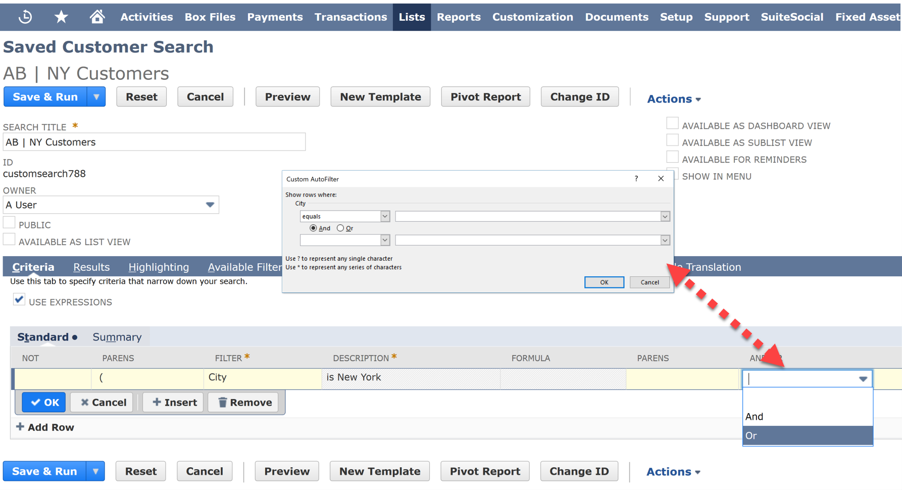Saved Searches - NetSuite ERP for Administrators