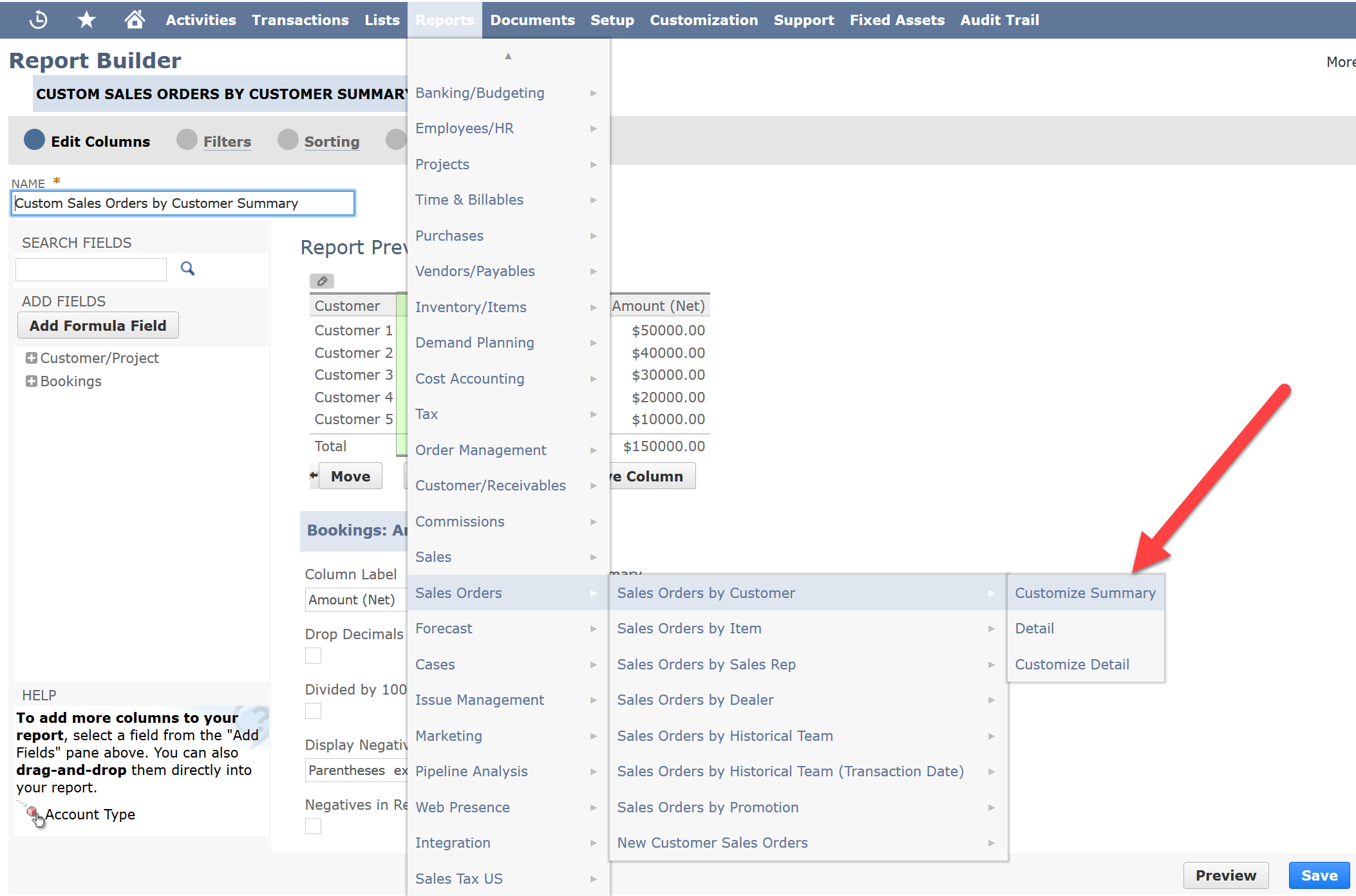 Custom reports - NetSuite ERP for Administrators