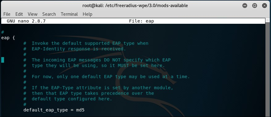 Time for action – setting up the AP with FreeRADIUS-WPE - Kali Linux