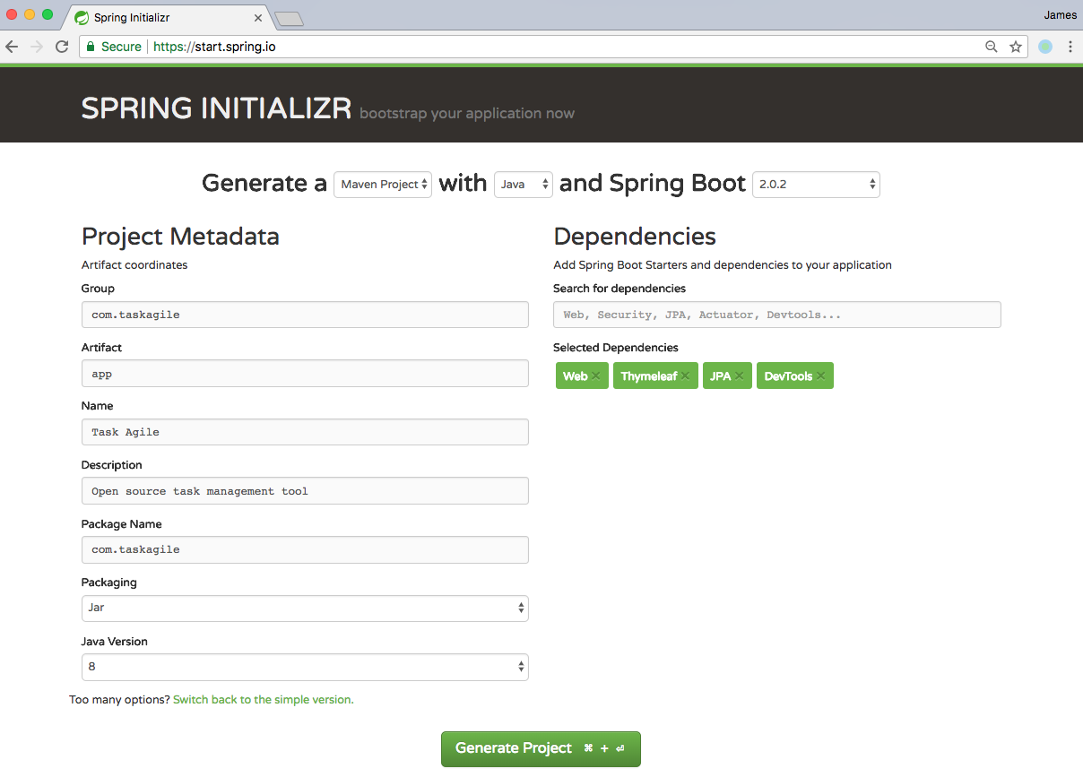 backend scaffold with Spring Initializr