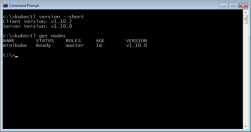 Setting up the Kubernetes cluster on Windows by minikube