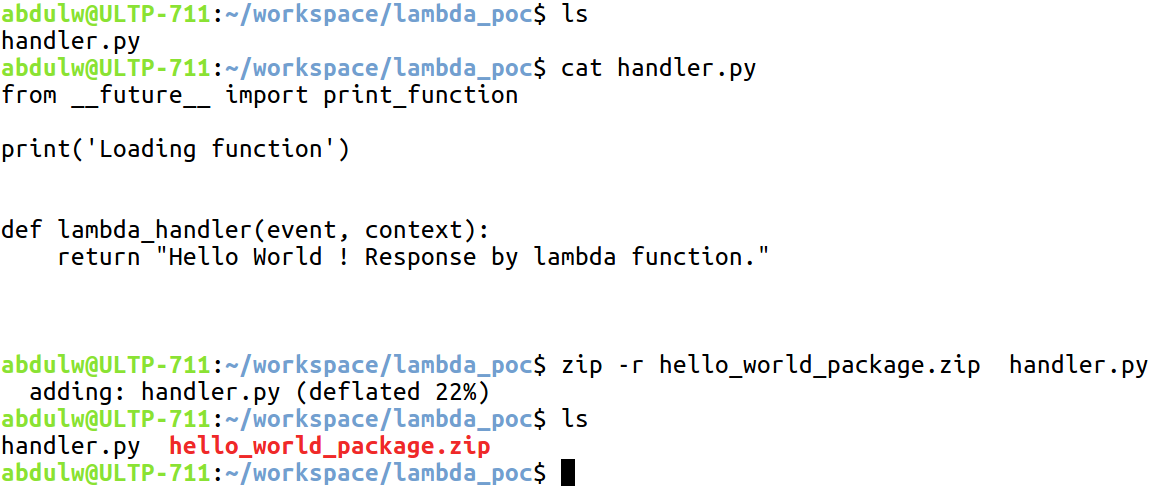 Configuring Lambda function with the AWS CLI - Building