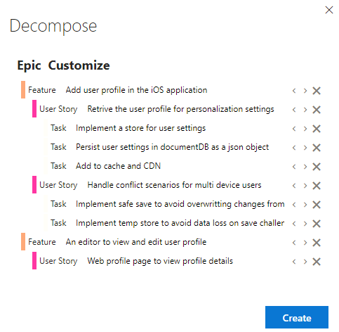 Portfolio backlog hierarchies and decomposing work - Azure