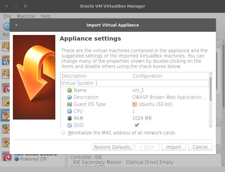 Creating a client virtual machine - Kali Linux Web