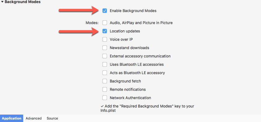 Enabling background location updates and permissions - Mastering