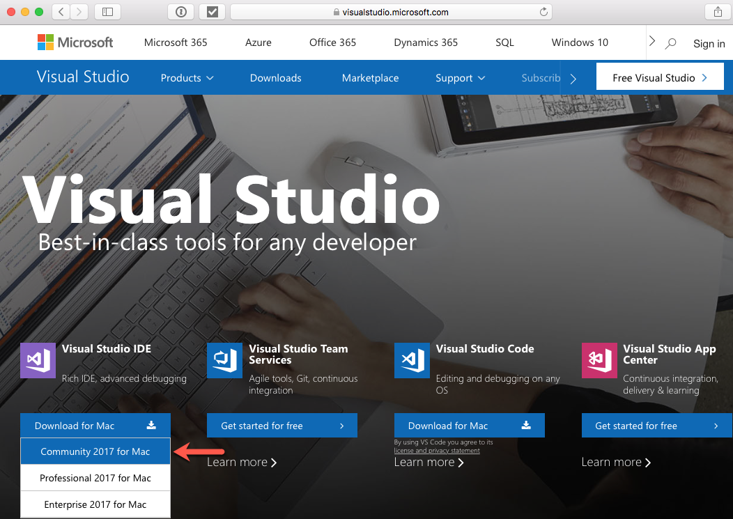 Downloading and installing Visual Studio for Mac - Mastering