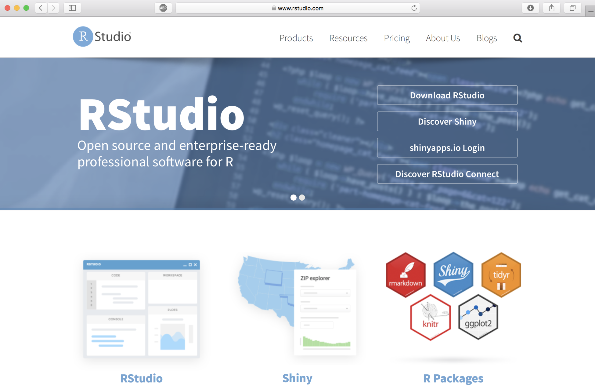 f5b5d8437b5 Click on Products in the top menu and select RStudio to download and  install the software. Download the open source ...