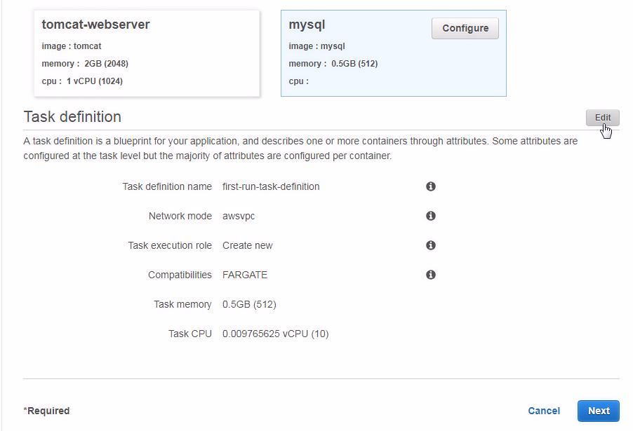 Configuring a Task definition - Amazon Fargate Quick Start Guide