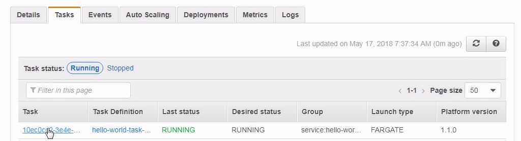 Accessing the service - Amazon Fargate Quick Start Guide