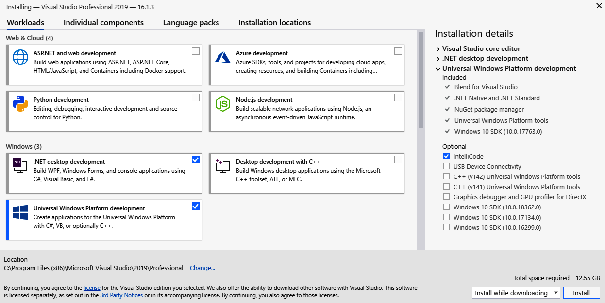 The Visual Studio 2019 installation experience - Mastering