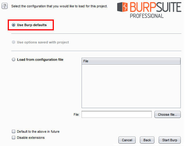 Starting Burp at a command line or as an executable - Burp