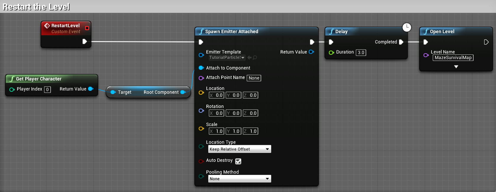 Restarting the level - Unreal Engine Blueprints Visual Scripting