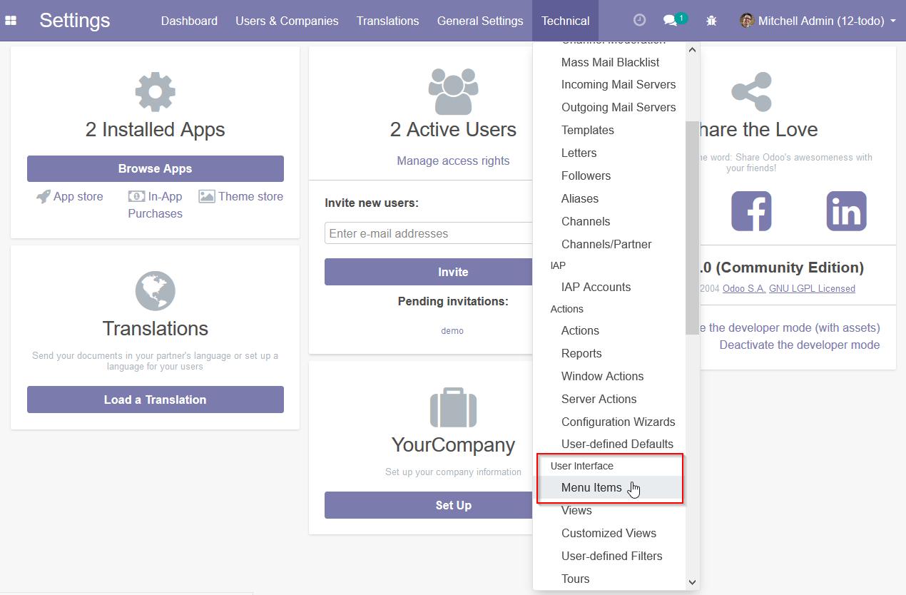 Creating menu items - Odoo 12 Development Essentials