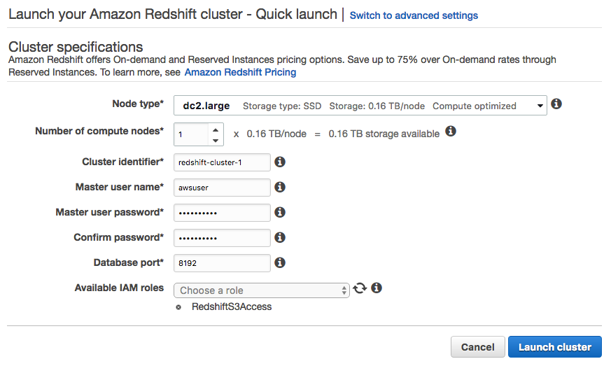 Launching an Amazon Redshift cluster - Tableau 2019 x Cookbook