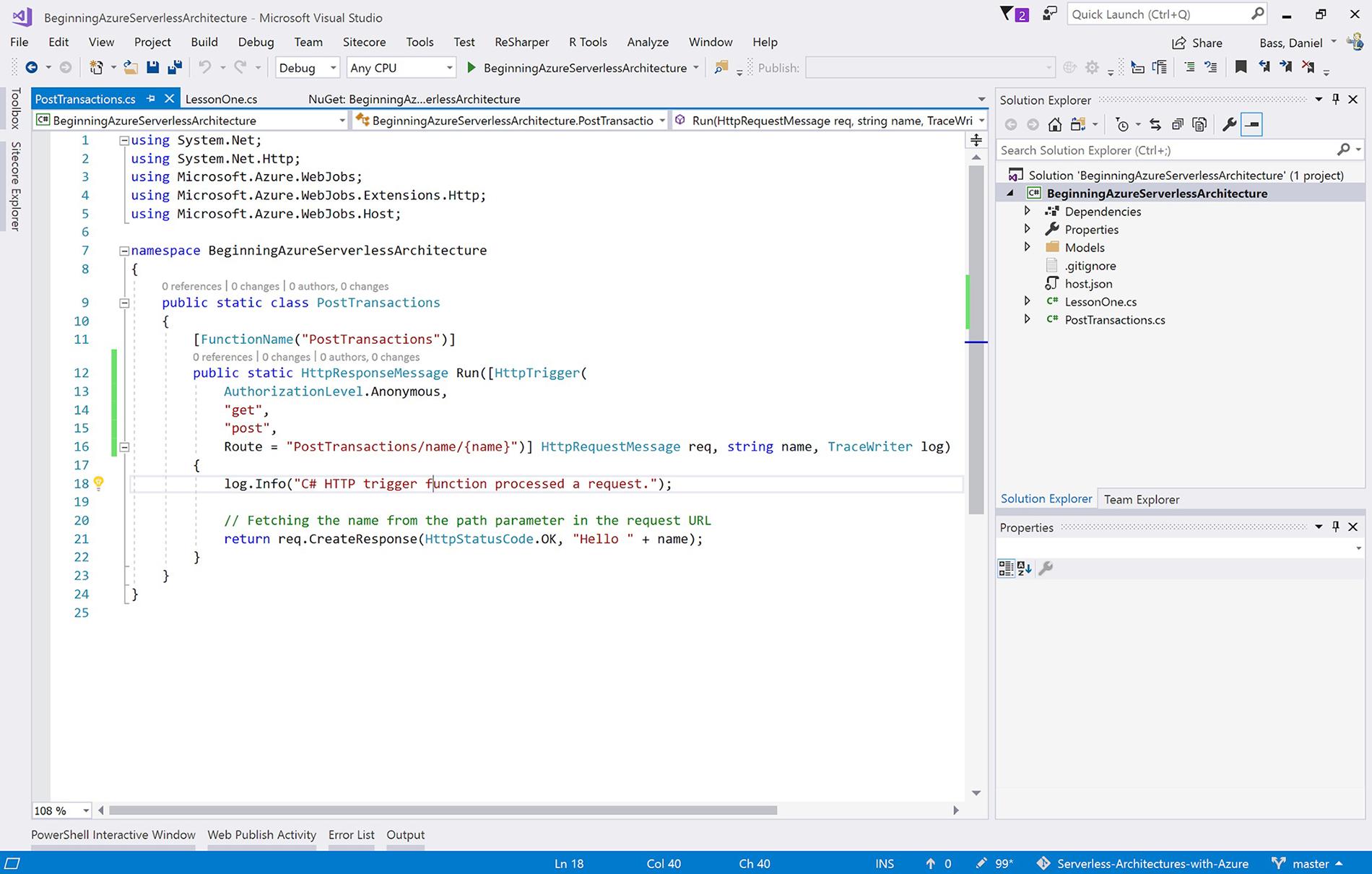 Creating, Debugging, and Deploying an Azure Function - Beginning