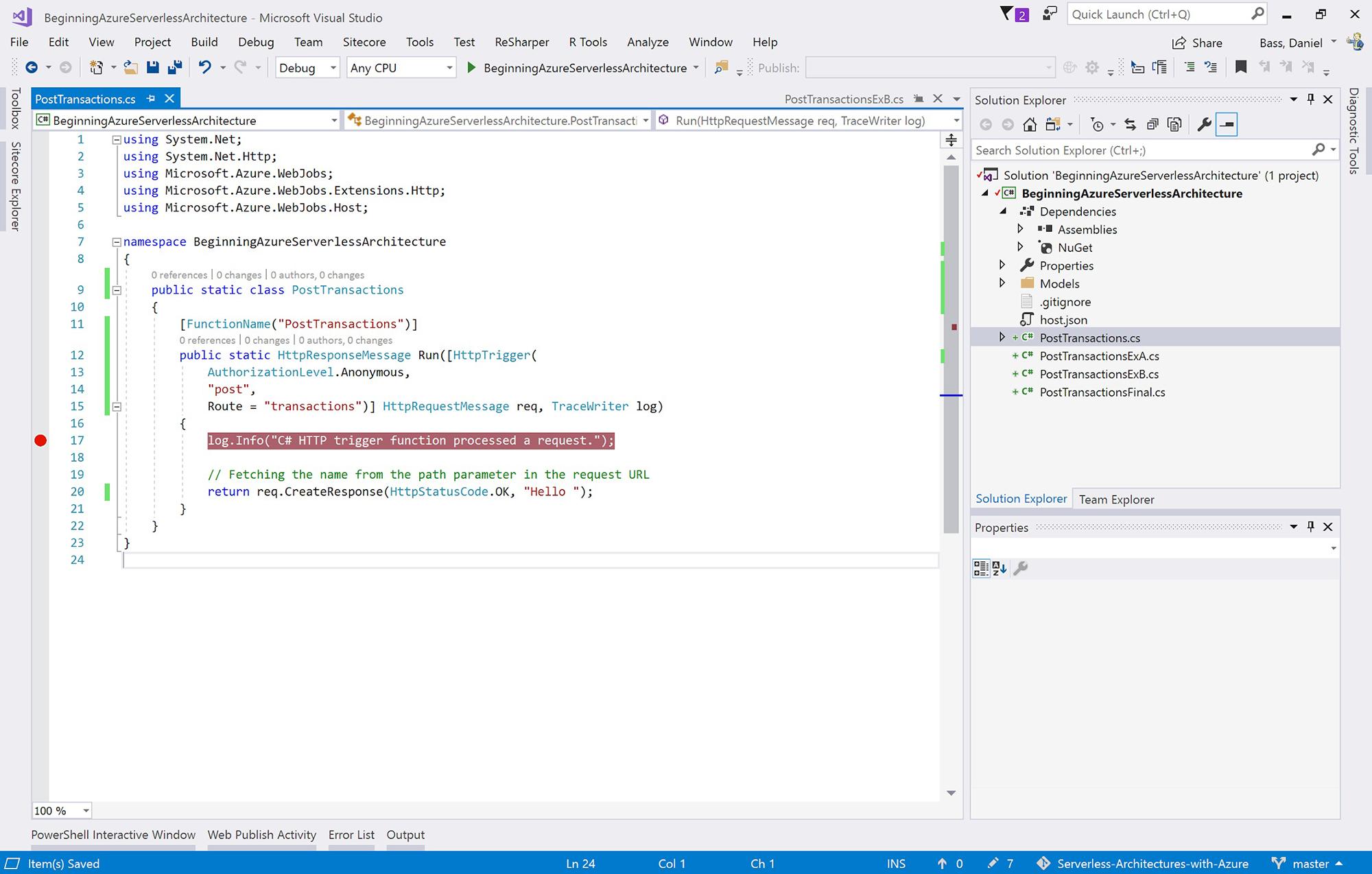 Creating, Debugging, and Deploying an Azure Function
