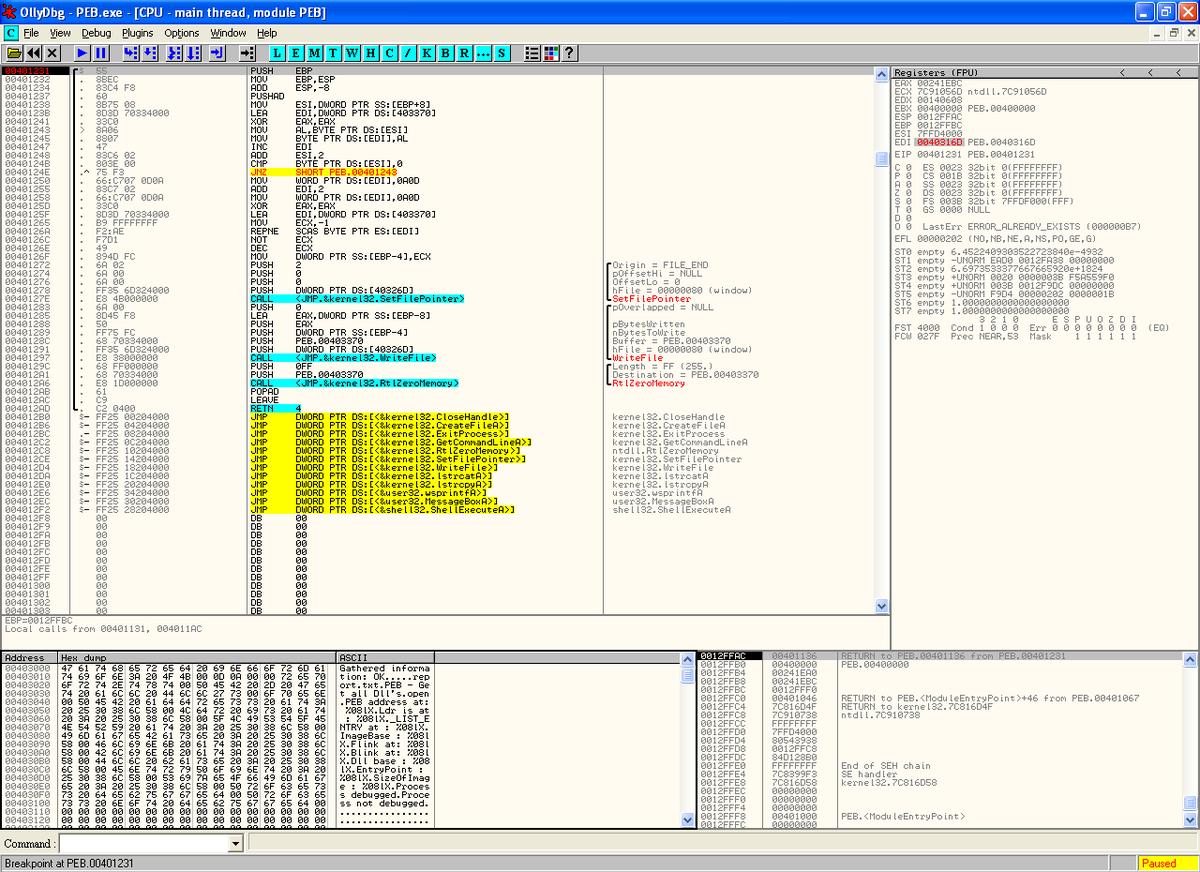 Dynamic analysis with OllyDbg/immunity debugger - Mastering Malware