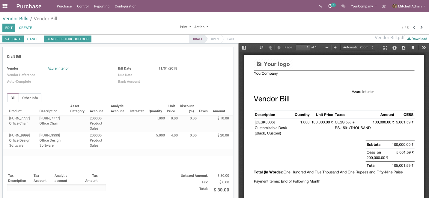 Displaying attachments on the side of the form view - Odoo