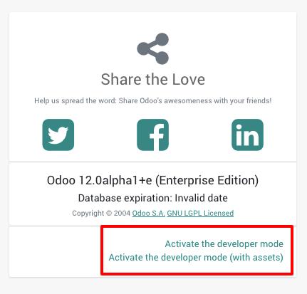 Activating the Odoo developer tools - Odoo 12 Development Cookbook