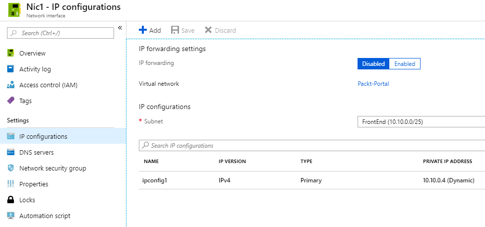 Creating a reservation for a private IP address - Azure Networking