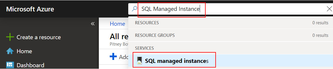 Figure 1.31: Searching for SQL Managed Instance.