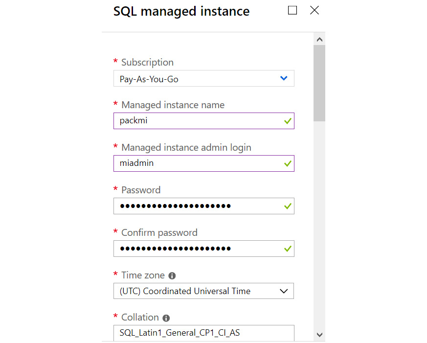 Figure 1.33: Information required in the SQL managed instance pane