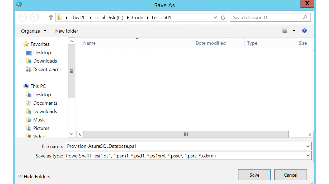Figure 1.42: Saving the PowerShell ISE file