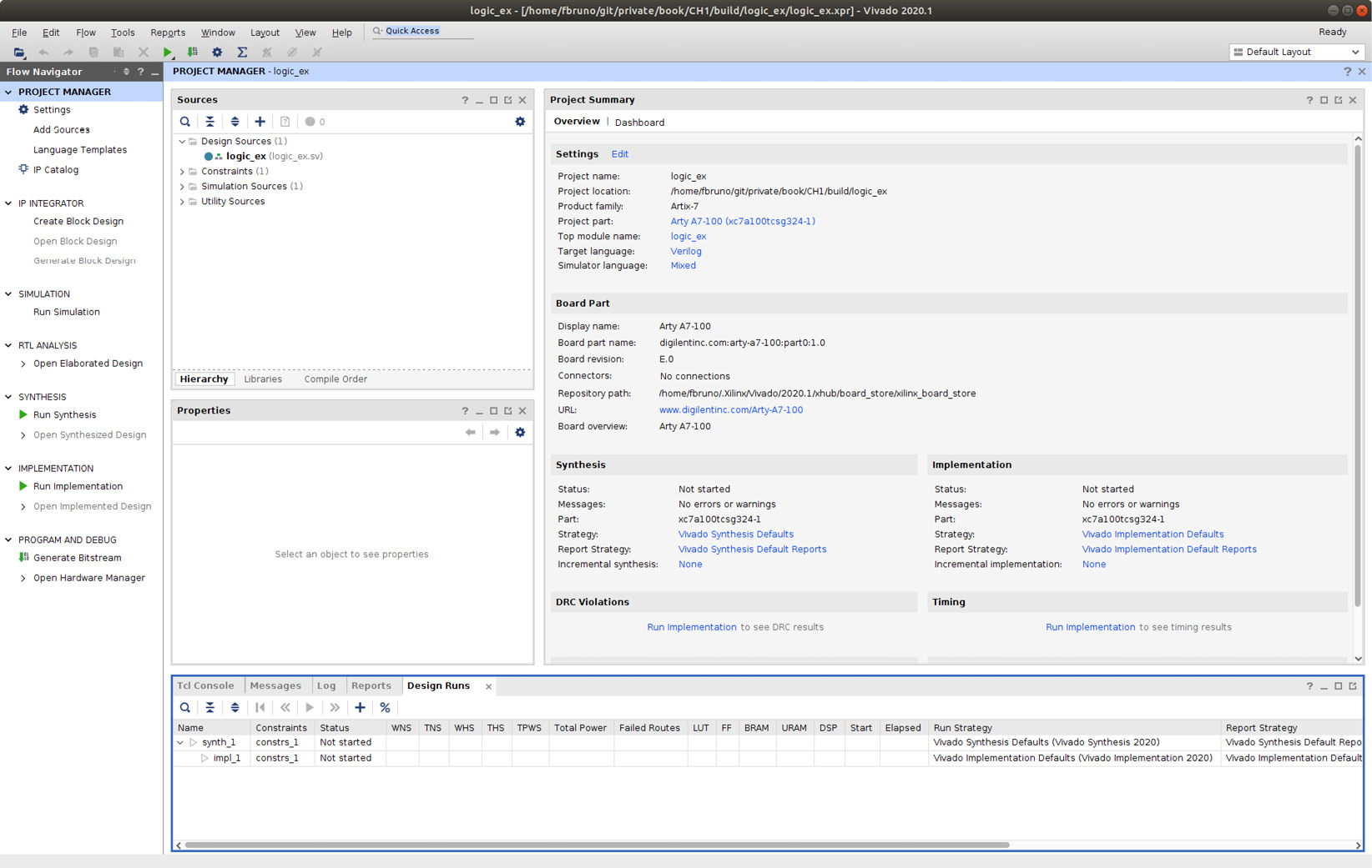 Figure 1.17 – Vivado main screen for the logic_ex project