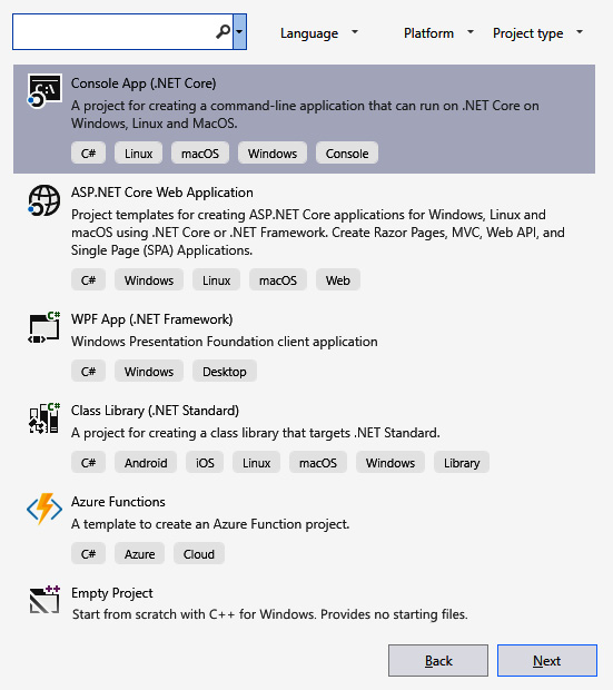Figure 1.7 – Select the Console App (.NET Core) template when creating  a new project in Visual Studio