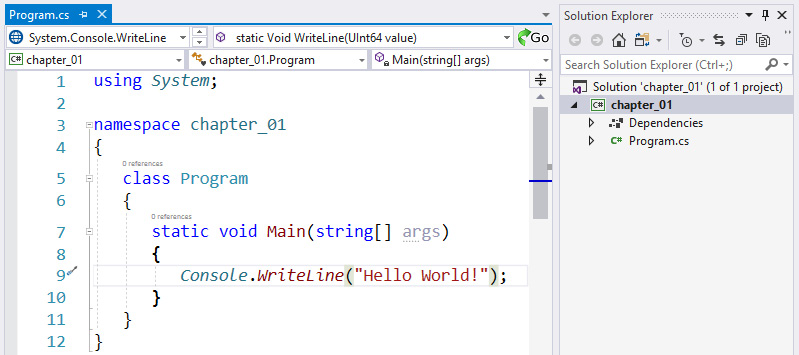Figure 1.8 – Screenshot of Visual Studio and the code generated for the selected template